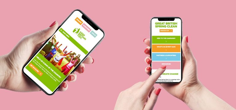 Keep Britain Tidy website on 2 mobile phones